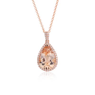 Morganite and Diamond Halo Pendant in 14k Rose Gold 13x9mm Blue Nile