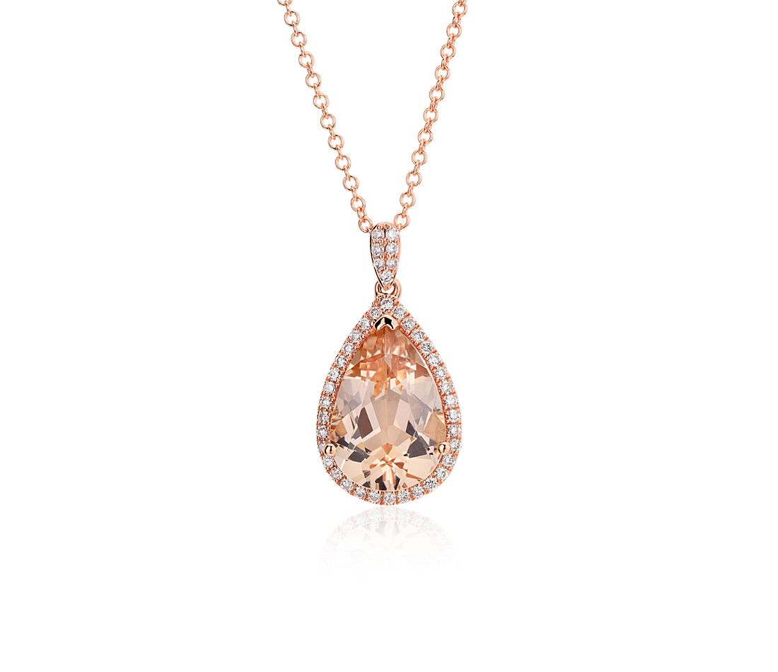 Pendentif halo diamant et morganite halo en or rose 14 carats (13 x 9 mm)