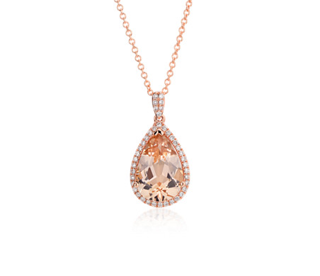 Blue Nile Morganite and Diamond Halo Necklace in 14k Rose Gold (8mm) ruAbAXr