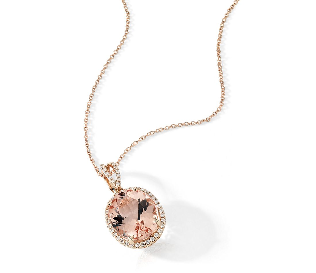 Morganite And Diamond Halo Pendant In 14k Rose Gold 0 27