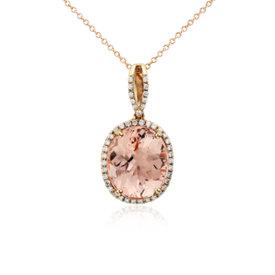 Colgante de morganita y diamantes con halo en oro rosado de 14k (0,27 qt. total) (14x12mm)
