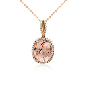 Pendentif halo diamant et morganite halo en or rose 14carats (0,27carat, poids total)<br>(14 x 12mm)