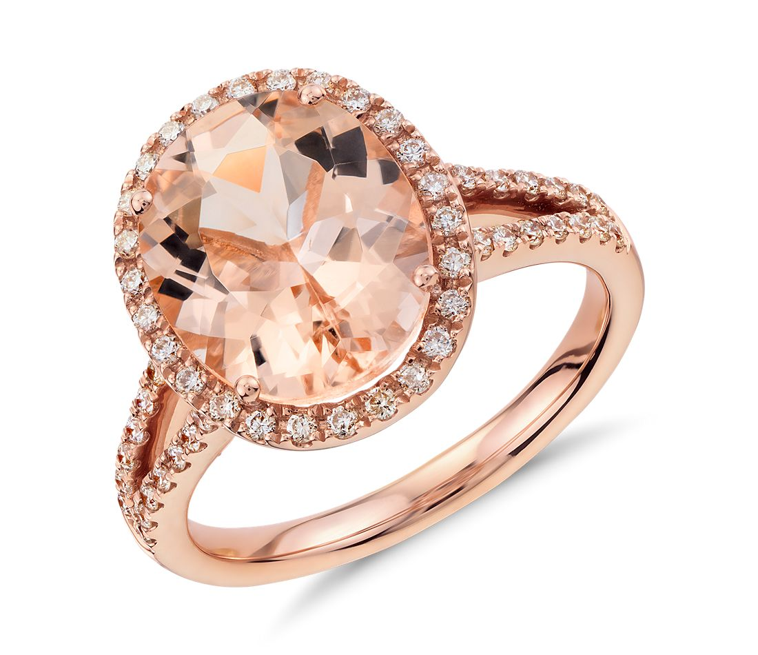 Morganite and Diamond Halo Ring in 14k Rose Gold (11x9mm ...