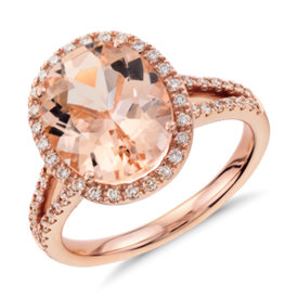 Bague morganite et diamant avec halo en or rose 14 carats (11 x 9 mm)