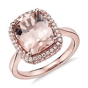 Robert Leser Bague diamant et morganite en or rose 14carats (11x9mm)