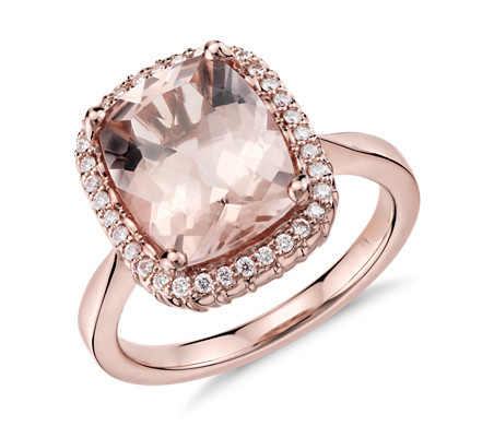 Robert Leser Morganite and Diamond Halo Ring in 14k Rose Gold (11x9mm)