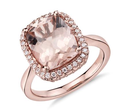 14k 玫瑰金 Robert Leser 鈀柱石與鑽石光環戒指<br>( 11x9毫米)