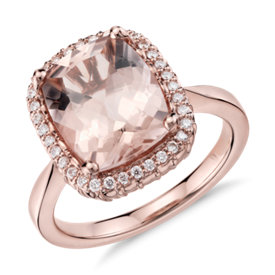 Bague halo de diamants et morganite Robert Leser en or rose 14 carats (11 x 9 mm)