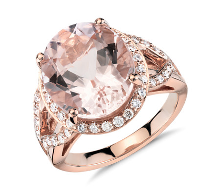 Morganite And Diamond Halo Ring In 18k Rose Gold 13x11mm