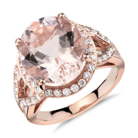 Bague morganite et diamant avec halo en or rose 18 carats (13 x 11 mm)