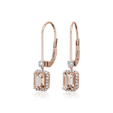 Morganite Drop Earrings with Diamond Halo in 14k Rose Gold