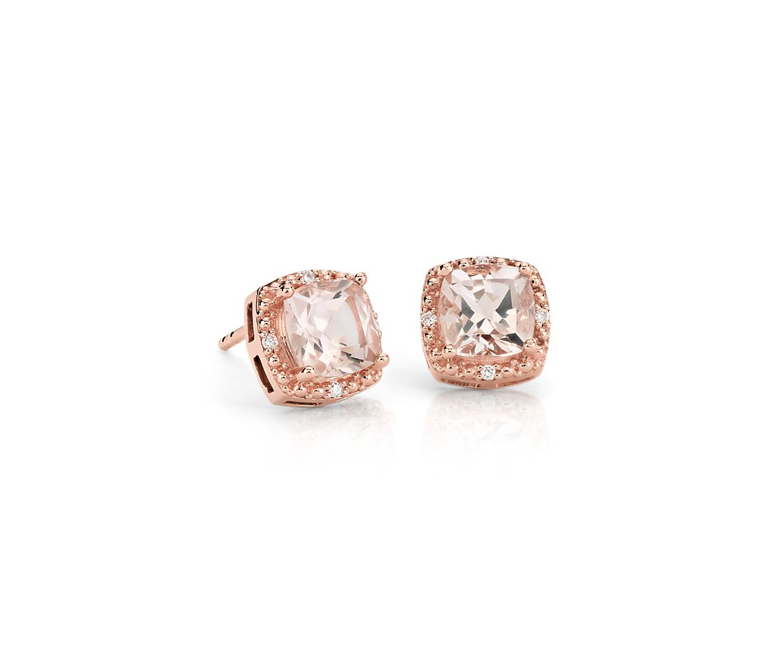 Morganite Halo Stud Earrings In 14k Rose Gold 6mm