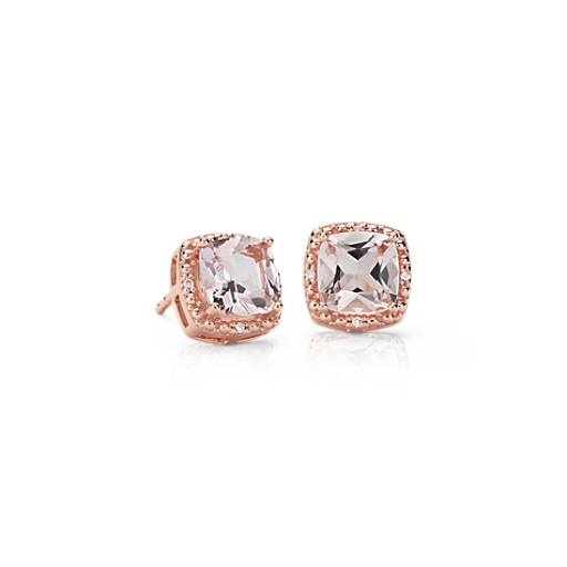 Morganite And Diamond Halo Stud Earrings In 14k Rose Gold