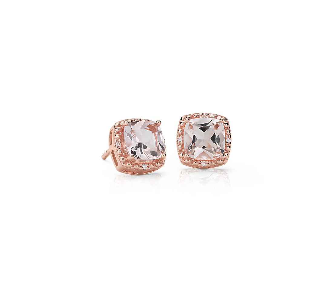Morganite and Diamond Halo Stud Earrings in 14k Rose Gold (6mm)