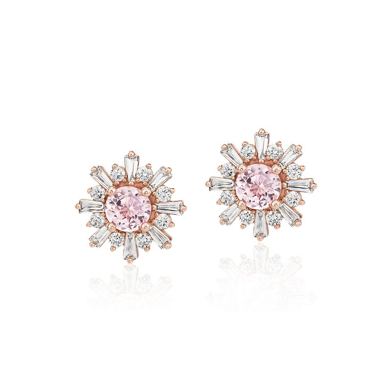 Morganite Earrings with Baguette Diamond Halo in 14k Rose Gold (5