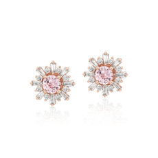 Morganite Earrings with Baguette Diamond Halo in 14k Rose Gold (5mm)