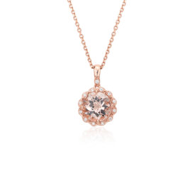 Collier à pendentif halo mille-grains diamant et morganite en or rose 14 carats (8 mm)