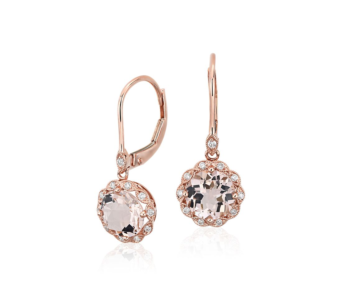 Morganite and Diamond Milgrain Halo Leverback Drop Earrings in 14k Rose Gold (7mm)