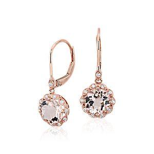 Morganite and Diamond Milgrain Halo Leverback Earrings in 14k Rose Gold (7mm)