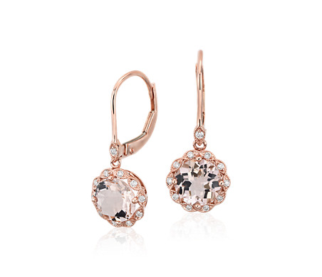 Pendants d'oreilles à fermoir mousqueton avec morganite et halo millegrain de diamants en or rose 14 carats (7 mm)
