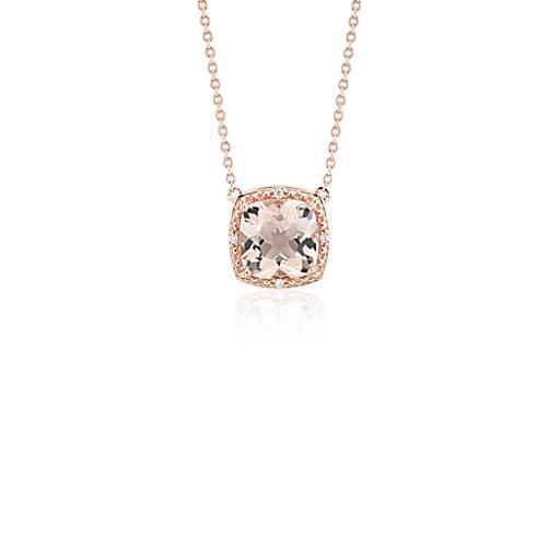 Blue Nile Cushion-Cut Pink Quartz Diamond Halo Pendant in 14k Rose Gold (9mm) 7Z8o7emZMn