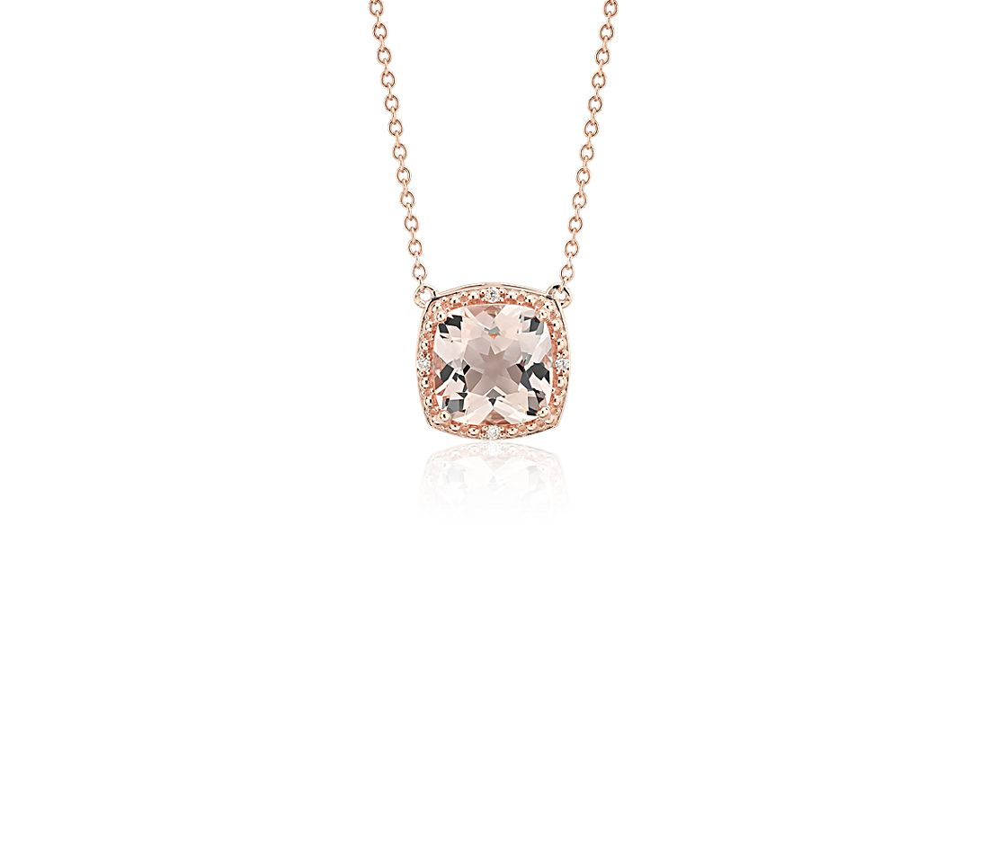 Collier halo de diamants et morganite en or rose 14 carats (8 mm)