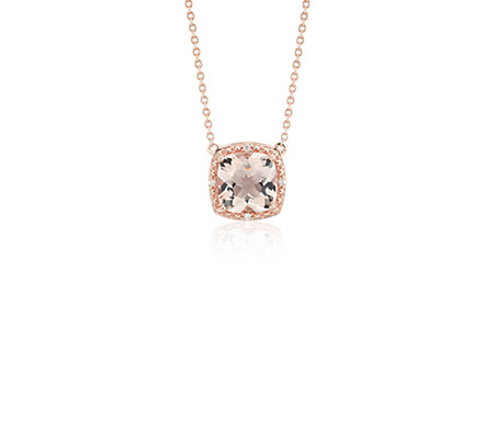 pendant necklace rose dp com quot amazon solitaire morganite gold round