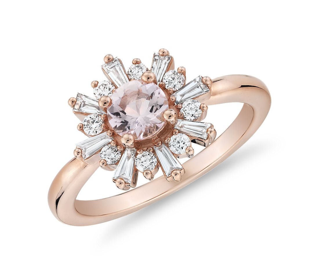 Bague morganite avec halo de diamants taille baguette en or rose 14 carats (5 mm)