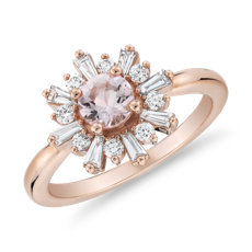 Morganite Ring with Baguette Diamond Halo in 14k Rose Gold (5mm)