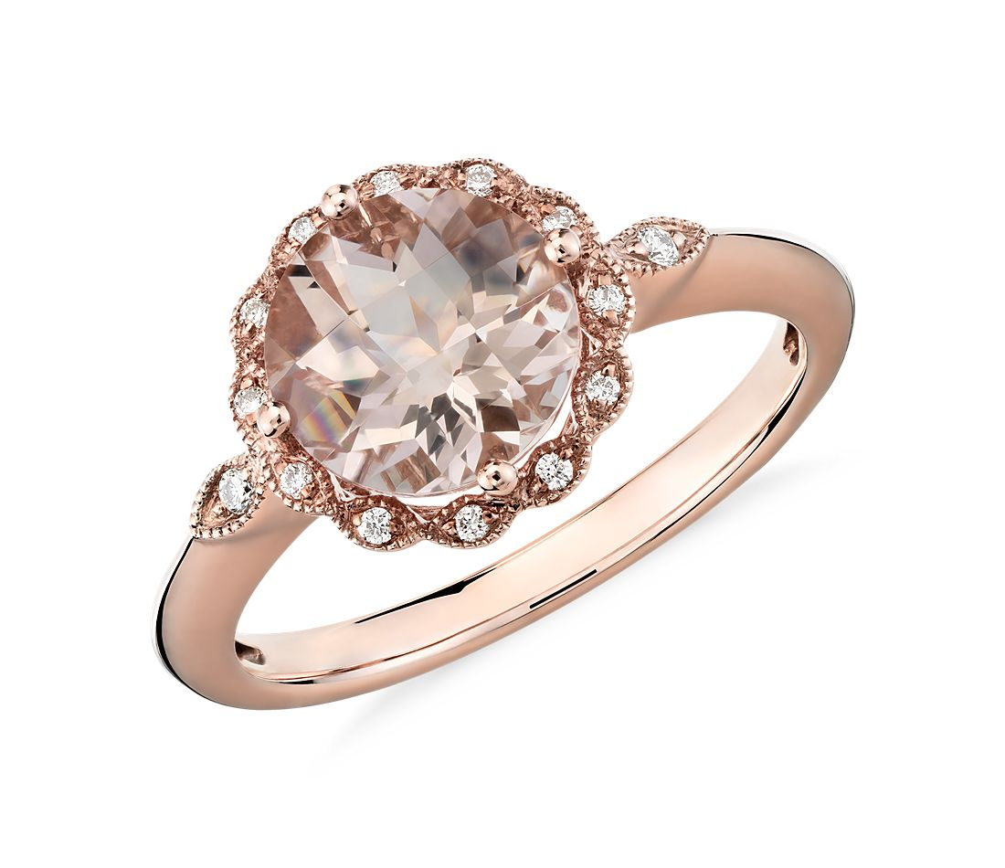Morganite and Diamond Milgrain Halo Ring in 14k Rose Gold 8mm
