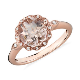 Bague halo millegrain diamant et morganite en or rose 14 carats (8 mm)