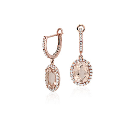 Pendants d'oreilles en diamant et morganite en or rose 14 carats (0,44 carat, poids total)<br>(9 x 7 mm)