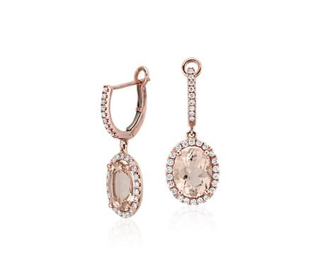 Aretes colgantes de Morganita y Diamante en oro rosado de 14k (0,44 qt. total) (9x7mm)