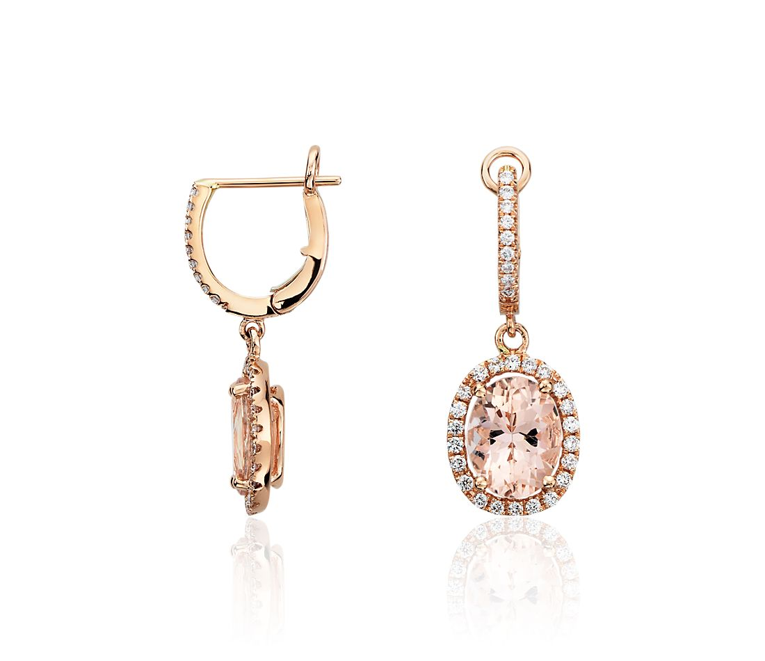 morganite and diamond earrings in 14k rose gold ct. Black Bedroom Furniture Sets. Home Design Ideas