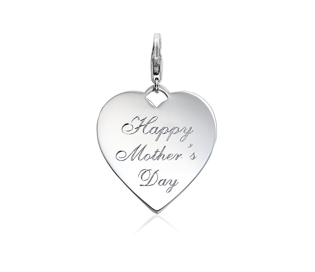 Happy Mother's Day Heart Charm in Sterling Silver