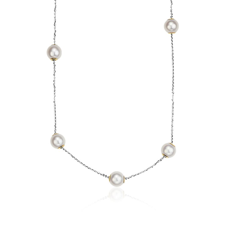 Movable Freshwater Cultured Pearl Necklace in 18k White Gold