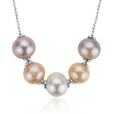 Movable Freshwater Cultured Pearl Necklace in Sterling Silver (9-10mm)