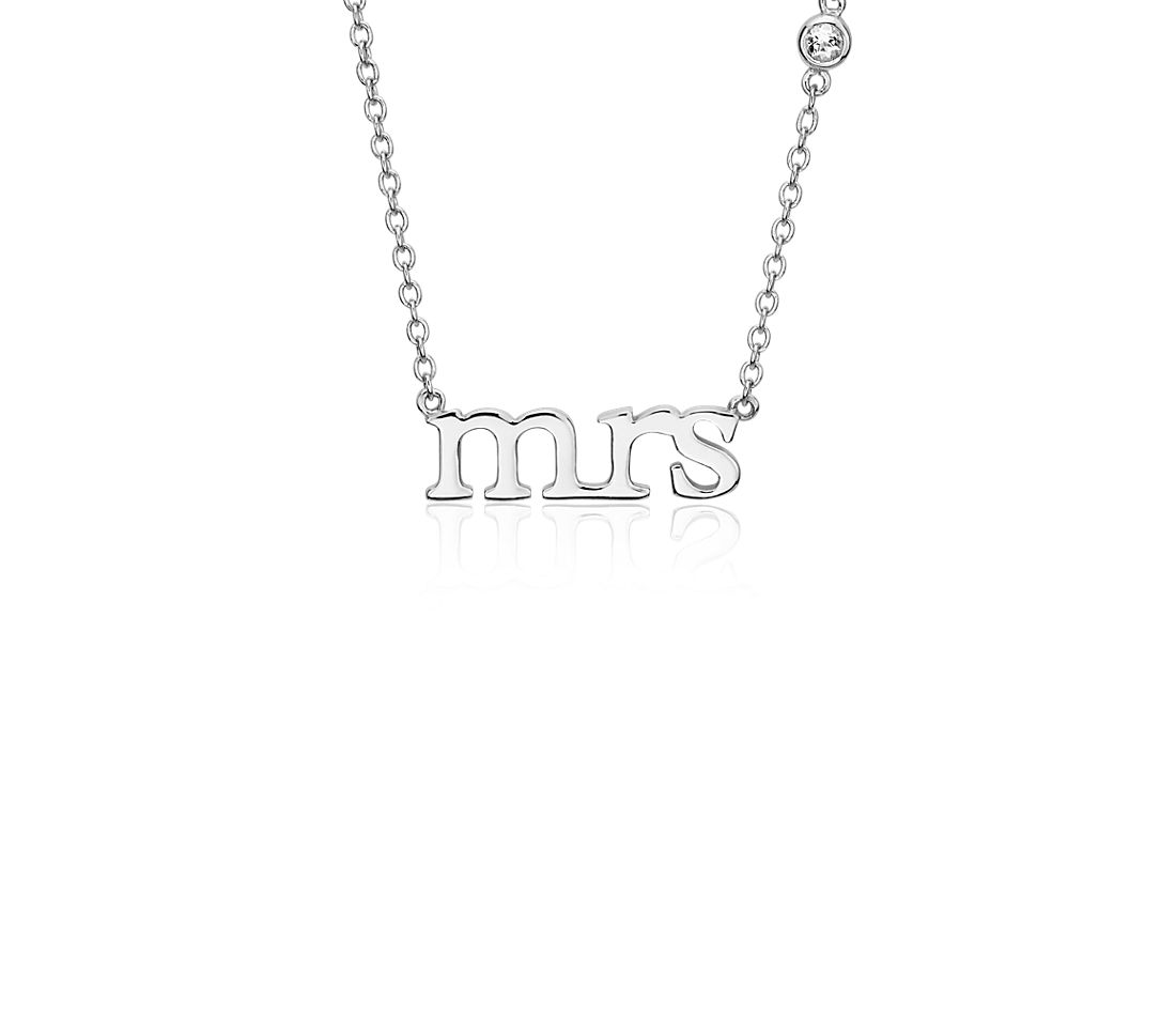 """Mrs."" Necklace with White Topaz in Sterling Silver"