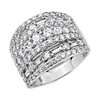 Multi-Band Round and Baguette Diamond Ring in 14k White Gold (3 ct. tw.)