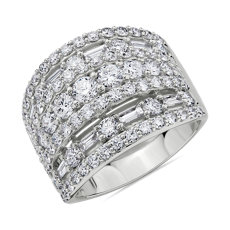 NEW Multi-Band Round and Baguette Diamond Ring in 14k White Gold (3 ct. tw.)