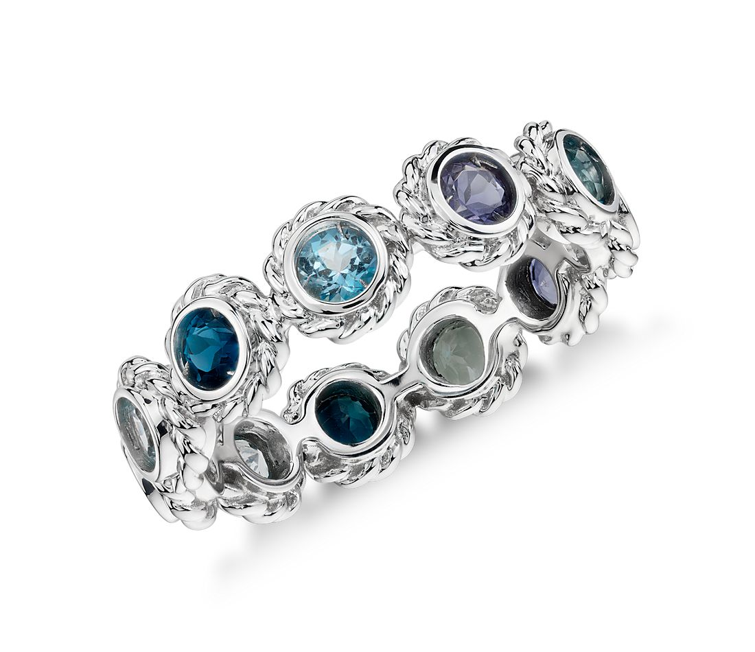 Multi-Gemstone Eternity Confetti Ring in 14k White Gold (3mm)