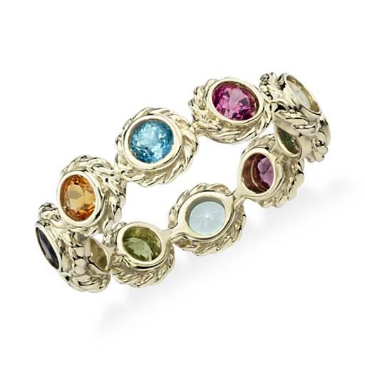Multi Gemstone Eternity Confetti Ring In 14k Yellow Gold