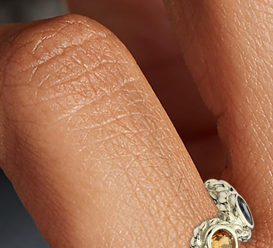 Bague confetti plusieurs pierres gemmes en or jaune 14carats (3mm)