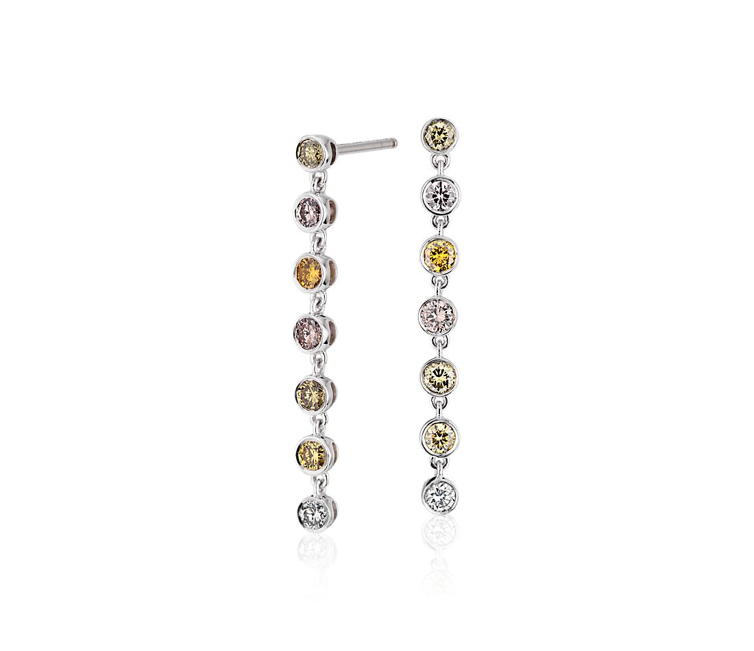 Pendants d'oreilles en diamants fantaisie multicolores en or blanc 18 carats (3/4 carat, poids total)