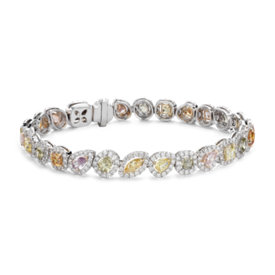 NEW Multi-Color Fancy Diamond Bracelet in 18k White (9 ct. tw.)