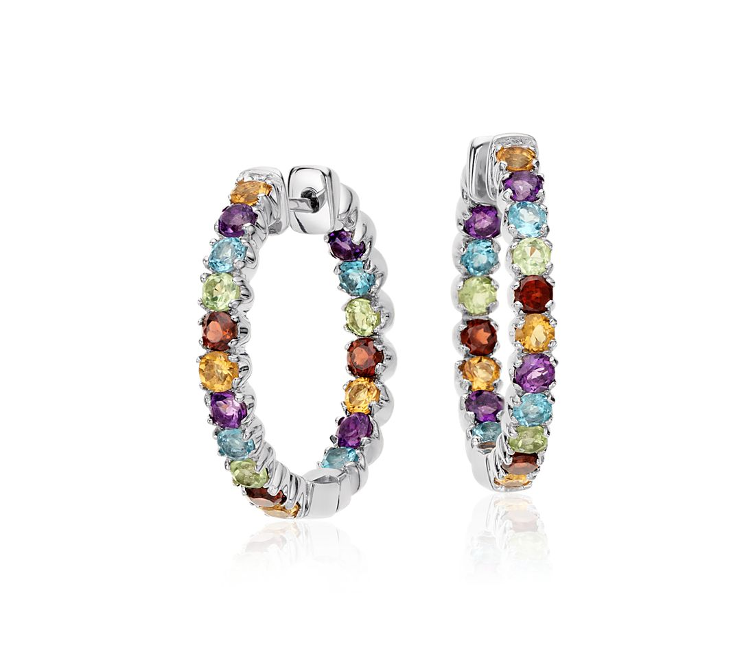 Multicolored Gemstone Hoop Earrings In Sterling Silver 2 5mm