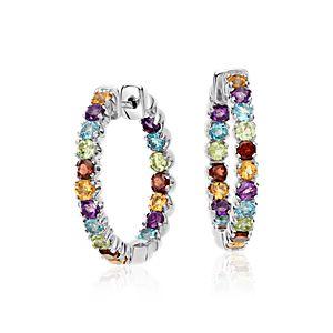 Multicolored Gemstone Hoop Earrings in Sterling Silver (2.5mm)