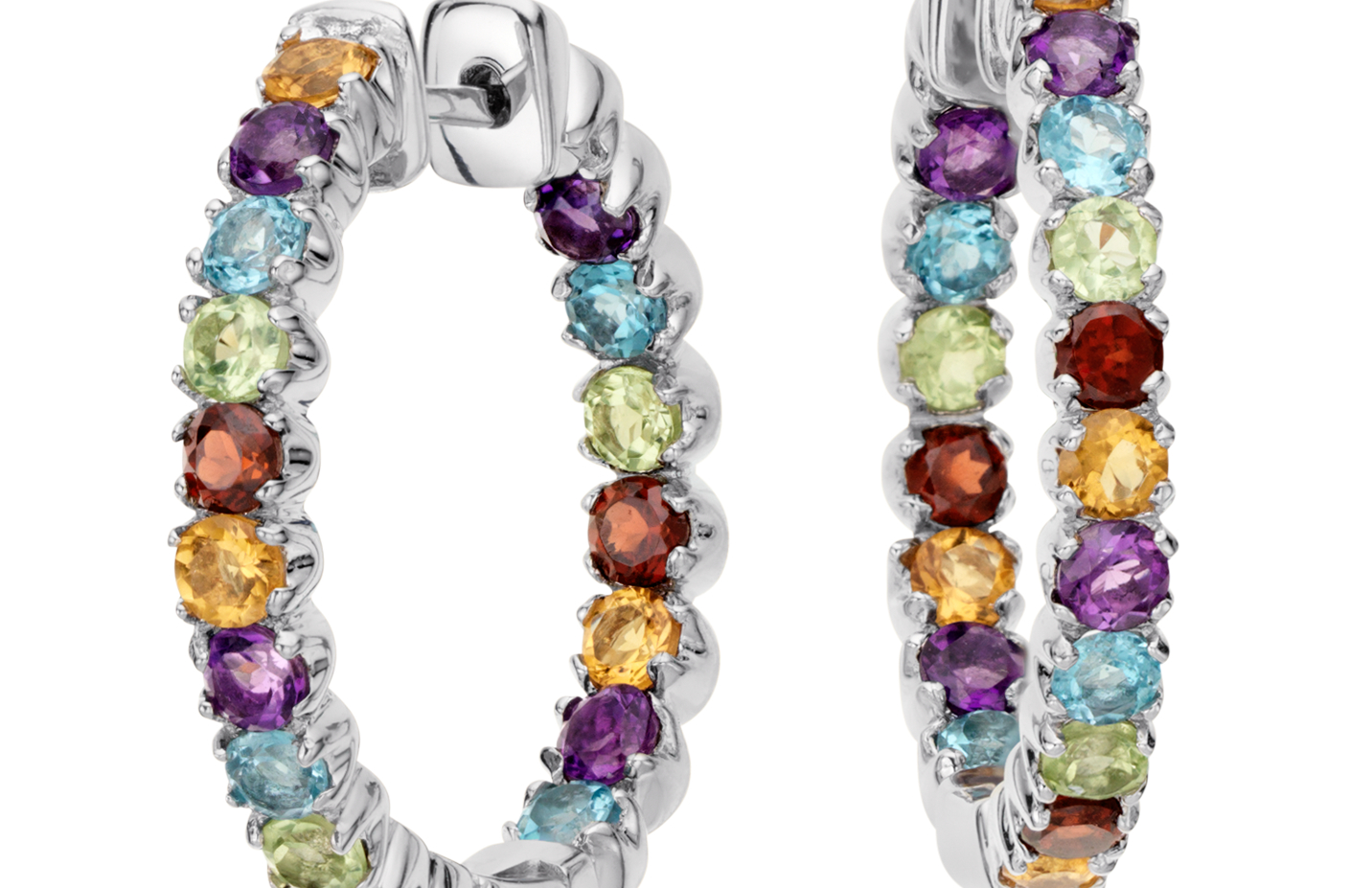 Créoles de pierres gemmes multicolores en argent sterling (2,5mm)