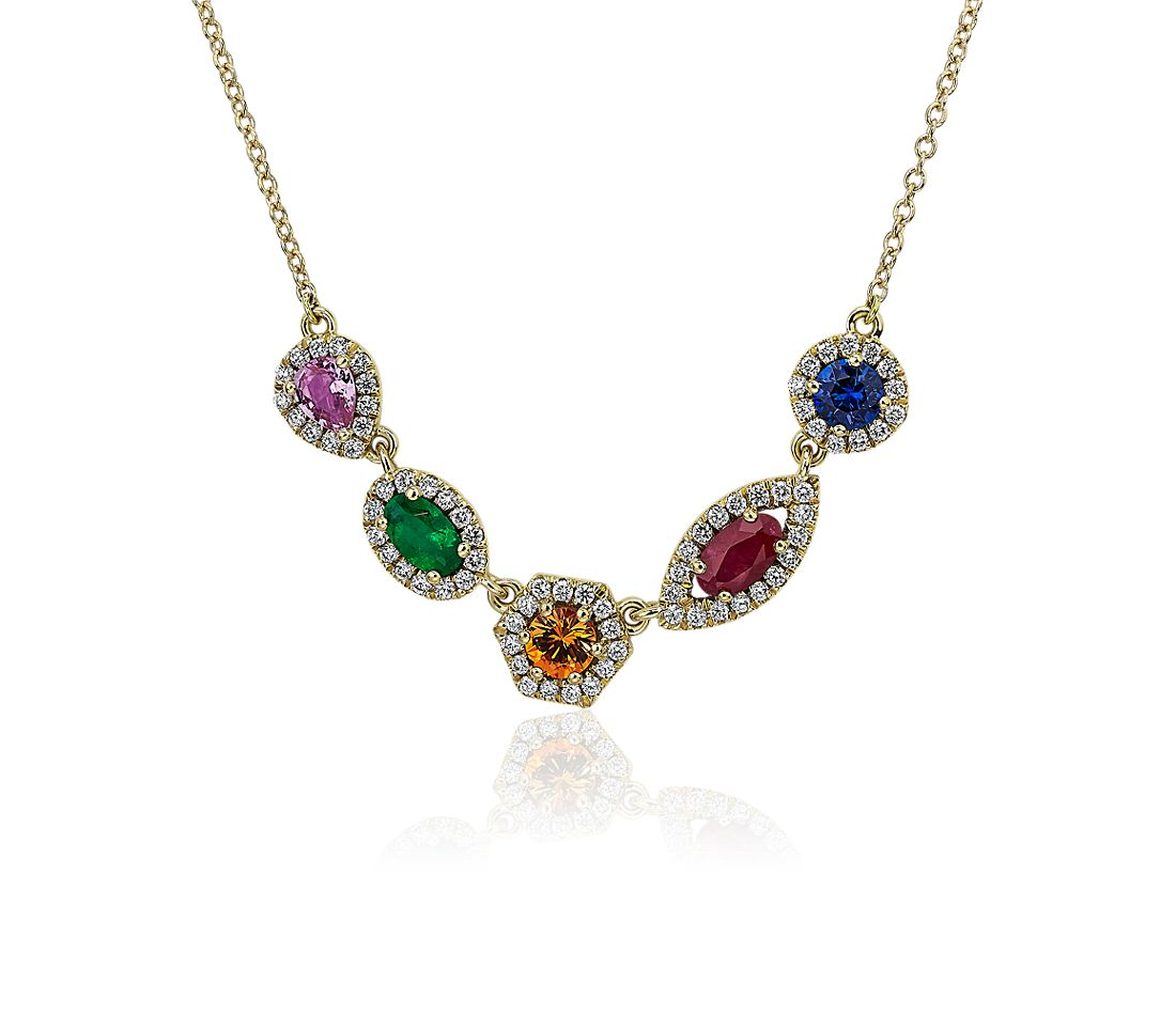 Multi-Colour Mixed Shape Gemstone Necklace in 18k Yellow gold