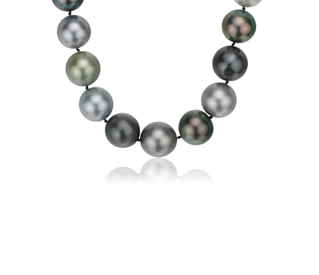 Multi-Color Tahitian Cultured Pearl Strand Necklace with Diamond Clasp in 18k White Gold (14-15.9mm)